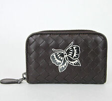 NEW BOTTEGA VENETA Woven Leather Coin Purse Card Holder w/Butterfly 114075 2040
