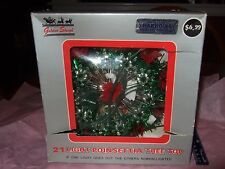 Vintage Poinsettia Lighted Tree Topper by Golden Sleigh with box