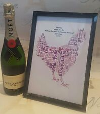 Personalised Hen DO Party Print Typography Gift Present Wedding Bride to Be