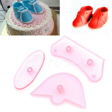 3Pcs Kid Baby Shoes Birthday Cake Decorating Mold Cutter Fondant Sugarcraft Tool