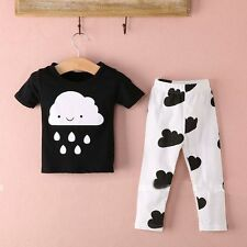 2pcs Baby Boys Clothes Short Sleeve Rain T-shirt Top +Pants New Outfits 1-2Y
