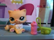 Littlest Pet Shop LPS Yellow & White PERSIAN CAT  Blue Eyes Pink Bow Authentic❤️