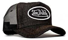 Authentic Brand New Von Dutch Black Denim Cap Hat Trucker Mesh Patch Snapback