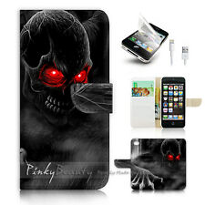 iPhone 5 5S Print Flip Wallet Case Cover! Horror Skull P0523