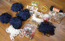 Large Lot Vintage Macramé Supplies Cord Beads Owl Eyes Butterflies Hoops