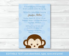 Mod Boy Monkey Jungle Safari Blue Printable Baby Shower Invitation Editable PDF