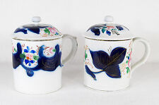 Antique Russian Pair of Porcelain Kuznetsov Covered Cups/Mugs