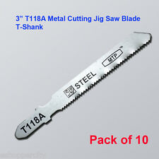 "10x T118A  3"" T-shank Metal Cutting Jig Saw Blades fits Bosch HSS Straight Fine"