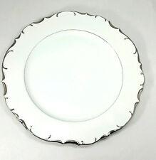 """Nobility Bristol Fine China 12"""" serving plate, white w/ silver scallop trim EUC"""