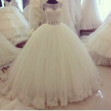 2016 Princess Lace Wedding Dresses Appliques Beaded Bridal Ball Gowns Custom++++