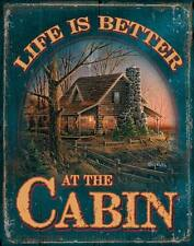 "TERRY REDLIN 16"" Tin Sign Decorative 5227765089 LIFE IS BETTER AT THE CABIN"