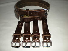 Dolls Pram Coach built vintage pram real leather  suspension straps in Brown