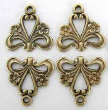Flower Heart Connector Antiqued Brass Ox Filigree Charm Drop 15mm