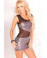 Pink Lipstick Mesh & Metallic Mini Dress New Adult Womens Sexy Cloth Silver S/M
