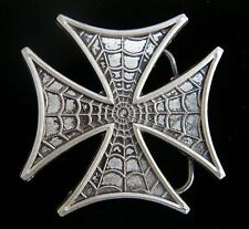 IRON/MALTESE CROSS WITH SPIDER WEB DESIGN BELT BUCKLE NEW
