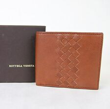 NEW BOTTEGA VENETA Mens Leather Bifold Wallet w/Woven Detail Brown 196207 6318