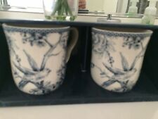 222 Fifth Set of 2  COFFEE CUPS /MUGS ADELAIDE BLUE WHITE TOILE BIRD NEW