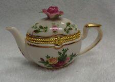Royal Albert Old Country Roses Teapot Shaped  Hinged  Pill Box