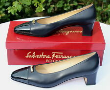 NEW - SALVATORE FERRAGAMO Navy Blue Leather Signature Pumps Shoes - UK 6B EU 39