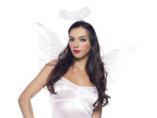"""Genuine """" FEATHER WINGS """" Pure White Angel Accessory Set with HALO by Leg Avenue"""