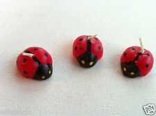 Lot of 3 Lucky Miniature Ladybugs Beetle Shaped Candles Red & Black