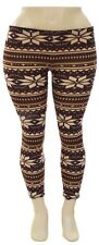 -XS S M XL 1X 2X- Snowflake Xmas Stretchy Leggings White,Black,Blue,Brown,Multi