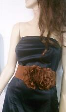 WOMEN BROWN WAIST FASHION ELASTIC BELT WITH TWO BIG ELEGANT FLOWERS SIZES S M L