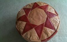 Moroccan Pouf  Ottoman Footstool Leather Large Tan Red 3rd Anniversary Gift