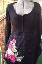 DESIGUAL Long Sleeve Black Embroidered Floral Flowers Dress eu 40 8 10 Designer