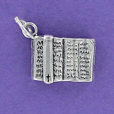 Open Bible Charm Sterling Silver for Bracelet Book Religion Faith Christian Word