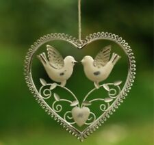 SASS & BELLE White VINTAGE HANGING HEART With TWO BIRDS Shabby Chic Wedding Home