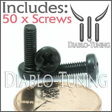 M3 x 10mm - Qty 50 - Phillips Pan Head Machine Screws - DIN 7985 A - Black Steel