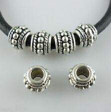 16pcs Tibetan Silver Hole 3mm Loose Spacer Beads fit Charm Europe Bracelet 6x8mm