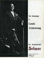 """""""INSTRUMENTS SELMER : Hommage à Louis ARMSTRONG"""" Annonce originale entoilée 1971"""