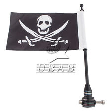Rear Luggage Rack Bracket Mount Metal Pole Skull Pirate Flag For Harley Dyna