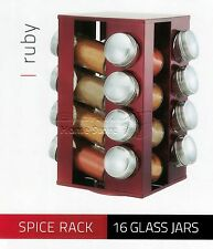 16Pc Glass Storage Spice Herb Jars Cooking Revolving Holder Rack Set Ruby Red