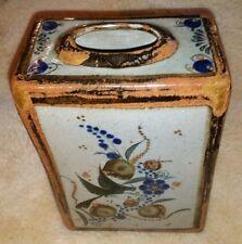 """Salvador Vasquez Tonala Mexican Pottery 9.5"""" Vase Birds Mexico rectangular"""