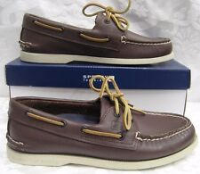 NEW MEN SPERRY TOPSIDER LEATHER BOAT SHOE AO BROWN MEN SIZE 14
