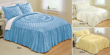 Isabelle Medallion Chenille Cotton Bedspread Blue -Queen