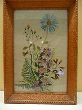 Super antique vintage wool tapestry flowers ornate carved wooden frame