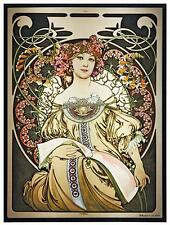 Alphonse Mucha - REVERIE Daydream Stained Glass Panel Art Nouveau Maiden 1897