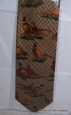 Pheasants on brown tartan background Silk Tie