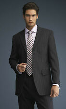 """SIMON JERSEY MENS CHARCOAL PINSTRIPE TWO BUTTON SUIT JACKET 36"""" MJ0630 TAILORED"""
