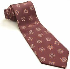 NEW PAUL STUART 56L Dark Brick-Burgundy Amber Navy Blue Olive Silk Mens Neck Tie