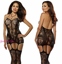 Plus Size Black STRETCH LACE FISHNET HALTER Mini DRESS Attached Garters STOCKING