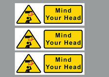 3x Mind Your Head sticker warning sign yellow&black small & long, 20x6.5cm