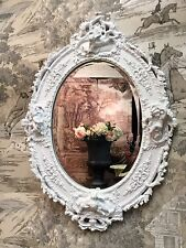 Antique Chalk White Ornate Oval Cherub Cupid French Style Bevelled Wall Mirror