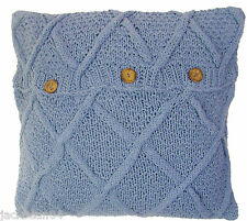 "BLUE ARAN CABLE HAND KNIT COTTON BUTTON CUSHION COVER 22""- 55CM #ORB"