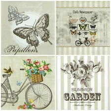 4x Single Party Paper Napkins for Decoupage Decopatch Craft Rose Butterfly Mix