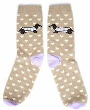 LADIES CLASSIC LOVE HEARTS BEIGE DACHSHUND DOG SOCKS UK 4-8 EUR 37-42 USA 6-10